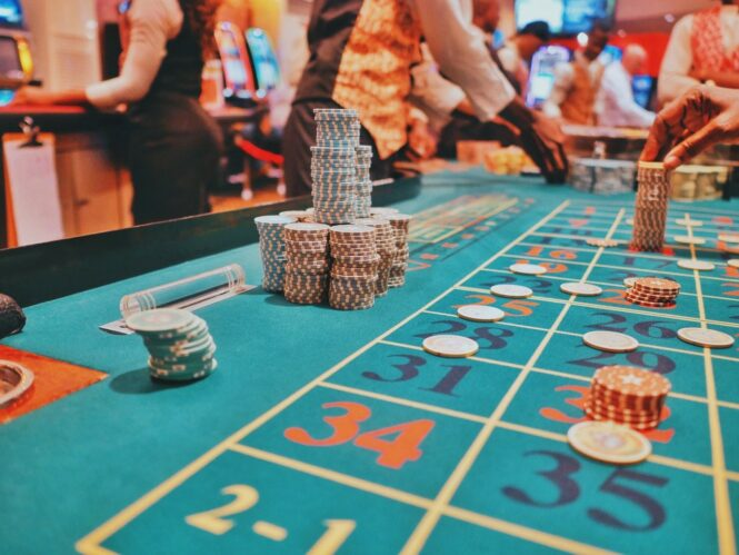 Players at a casino Roulette table